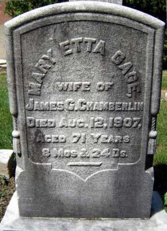 GAGE CHAMBERLIN, MARY ETTA - Schenectady County, New York | MARY ETTA GAGE CHAMBERLIN - New York Gravestone Photos