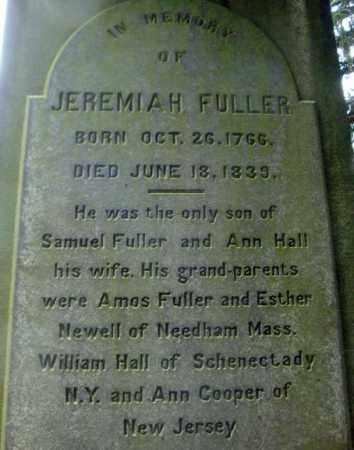 FULLER, JEREMIAH - Schenectady County, New York | JEREMIAH FULLER - New York Gravestone Photos