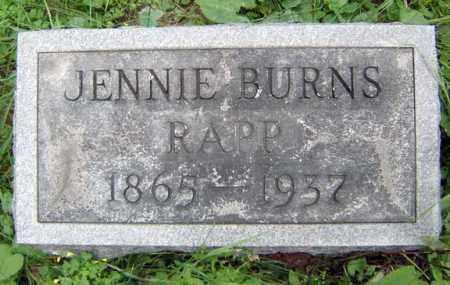 BURNS RAPP, JENNIE - Schenectady County, New York | JENNIE BURNS RAPP - New York Gravestone Photos