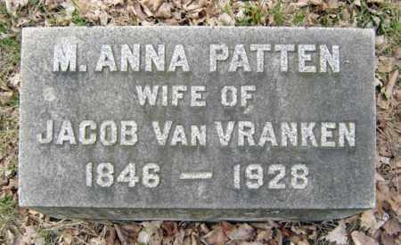VAN VRANKEN, M ANNA - Schenectady County, New York | M ANNA VAN VRANKEN - New York Gravestone Photos