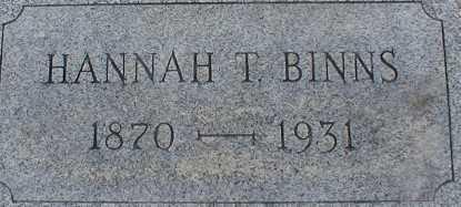 BINNS, HANNAH T. - Suffolk County, New York | HANNAH T. BINNS - New York Gravestone Photos