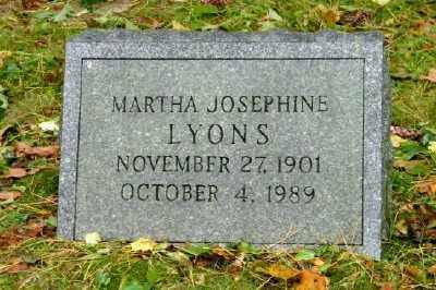 LYONS, MARTHA JOSEPHINE - Suffolk County, New York   MARTHA JOSEPHINE LYONS - New York Gravestone Photos