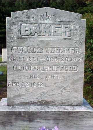 BAKER, THOMAS W - Warren County, New York | THOMAS W BAKER - New York Gravestone Photos