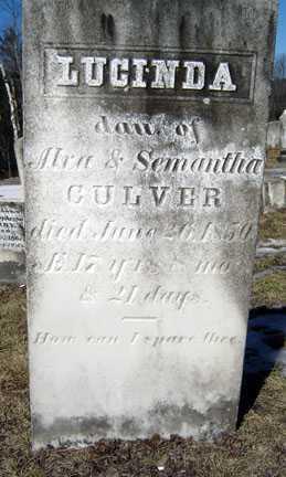 CULVER, LUCINDA - Warren County, New York   LUCINDA CULVER - New York Gravestone Photos
