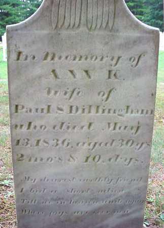 DILLINGHAM, ANN K - Warren County, New York   ANN K DILLINGHAM - New York Gravestone Photos