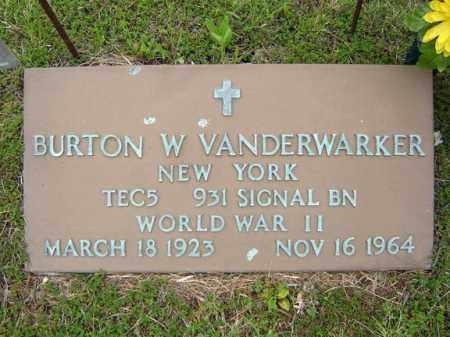 VANDERWARKER, BURTON W - Warren County, New York | BURTON W VANDERWARKER - New York Gravestone Photos