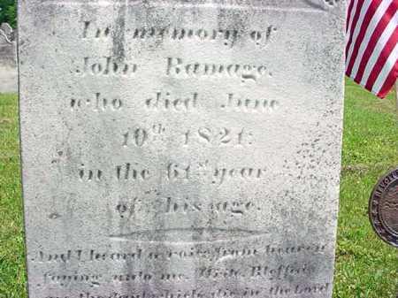 BAMAGE (RW), JOHN - Washington County, New York | JOHN BAMAGE (RW) - New York Gravestone Photos