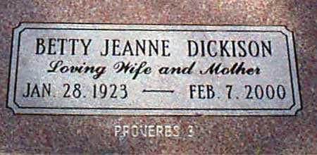 DICKISON, BETTY JEANNE - Baker County, Oregon   BETTY JEANNE DICKISON - Oregon Gravestone Photos