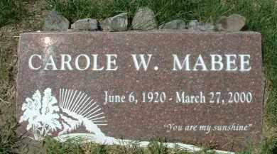 MABEE, CAROLE W. - Klamath County, Oregon   CAROLE W. MABEE - Oregon Gravestone Photos