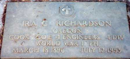 RICHARDSON (WWI), IRA CURTIS - Lane County, Oregon | IRA CURTIS RICHARDSON (WWI) - Oregon Gravestone Photos