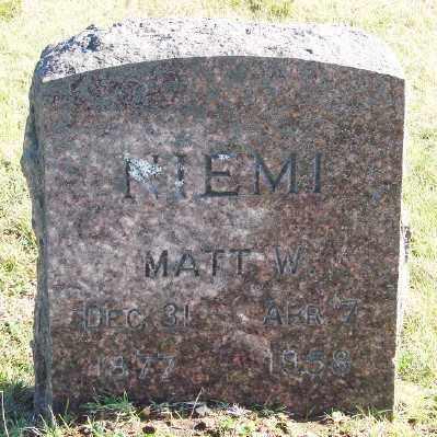 NIEMI, MATT W - Lincoln County, Oregon | MATT W NIEMI - Oregon Gravestone Photos