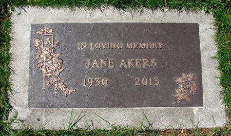 AKERS, JANE - Marion County, Oregon | JANE AKERS - Oregon Gravestone Photos