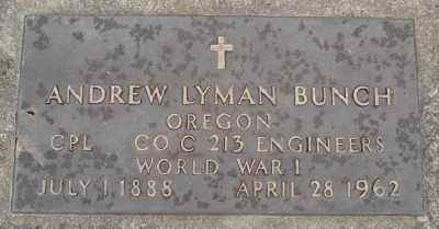 BUNCH (WWI), ANDREW LYMAN - Marion County, Oregon | ANDREW LYMAN BUNCH (WWI) - Oregon Gravestone Photos