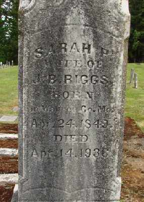RIGGS, SARAH P - Polk County, Oregon | SARAH P RIGGS - Oregon Gravestone Photos