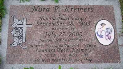 BURGER KREMERS, HONORA PEARL - Tillamook County, Oregon | HONORA PEARL BURGER KREMERS - Oregon Gravestone Photos