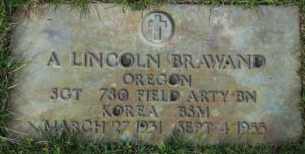 BRAWAND, A. LINCOLN - Washington County, Oregon   A. LINCOLN BRAWAND - Oregon Gravestone Photos