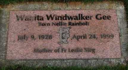 RAINBOLT GEE, WANITA WINDWALKER - Washington County, Oregon   WANITA WINDWALKER RAINBOLT GEE - Oregon Gravestone Photos