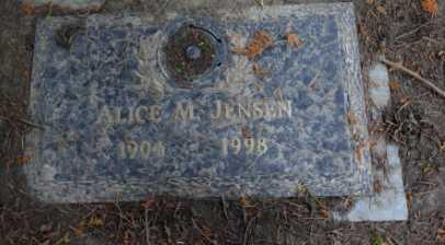 JENSEN, ALICE M - Washington County, Oregon   ALICE M JENSEN - Oregon Gravestone Photos
