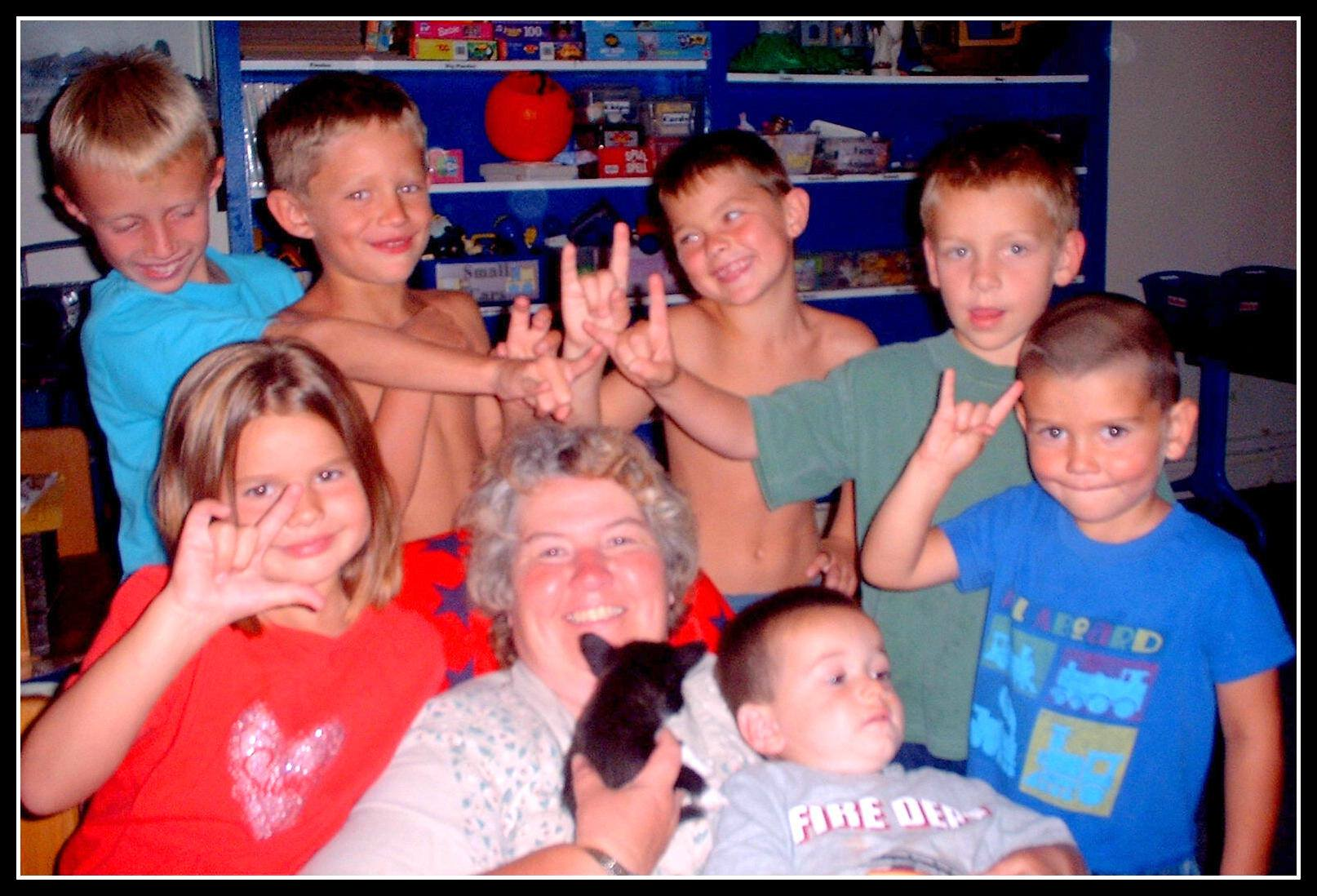 "Peg with her ""grandkids"""