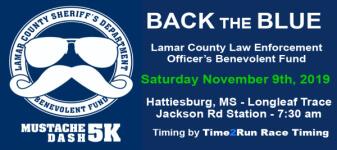 Back The Blue Mustache Dash 5K registration logo