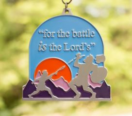Bible Clearance from 2019 - David and Goliath 1M 5K 10K 13.1 26.2 registration logo