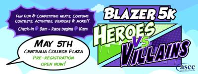 Blazer 5k - Heroes vs Villains registration logo