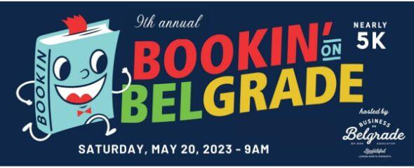 Bookin' on Belgrade Nearly 5K registration logo