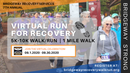 VIRTUAL Bridgeway Run for Recovery registration logo