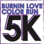 Burnin' Love 5k and Color Run registration logo