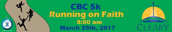 CBC Running On Faith 5K registration logo