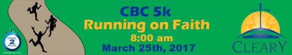 CBC Running On Faith 5K registration logo