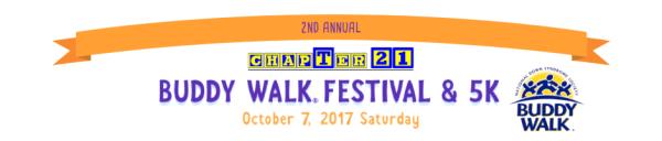 ChapTer 21 Buddy Walk, Festival, and 5K registration logo