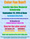 Color Fun Run/Walk for the Jennifer Ann Beer Memorial Scholarship registration logo