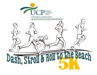 DASH, STROLL & ROLL TO THE BEACH registration logo