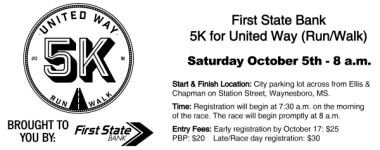 First State Bank 5K For United Way registration logo