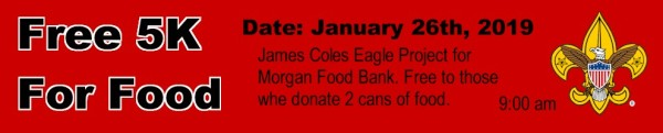 Free 5K for Food - Donate Can Food to Run registration logo