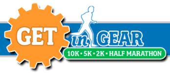 Get In Gear 10K, 5K, 2K, Half Marathon registration logo