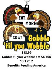 Gobble Til You Wobble 1M 5K 10K 13.1 and 26.2 registration logo