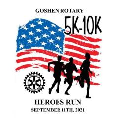 Goshen Rotary 5k/10k Heroes Run registration logo