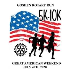 Great American Weekend 5K & 10K Goshen Rotary Run registration logo