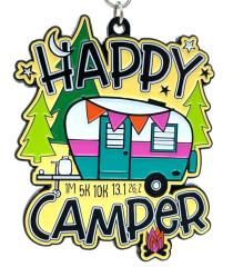 Happy Camper 1M 5K 10K 13.1 26.2 registration logo