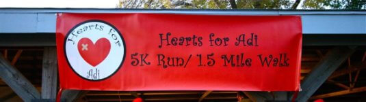 Heart for Adi 5k run 1.5 Mile walk registration logo