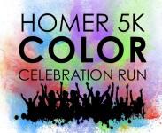 Homer 5K Color Celebration Run registration logo