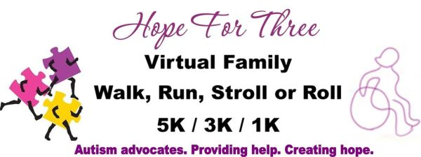Hope For Three Virtual Family Walk, Run, Stroll or Roll registration logo