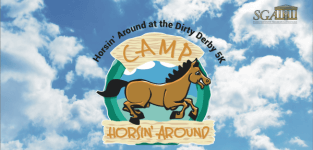 Horsin' Around at the Dirty Derby 5K Trail Run registration logo