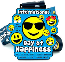 International Day of Happiness 1M 5K 10K 13.1 26.2 registration logo
