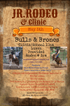 Jr bulls and broncs rodeo and clinic registration logo