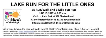 Lake Run For The Little Ones 5K registration logo