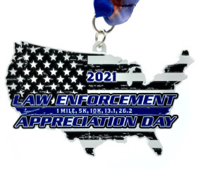 Law Enforcement Appreciation Day 1M 5K 10K 13.1 26.2 registration logo