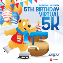 Learn to Skate USA 5th Birthday Virtual 5K registration logo